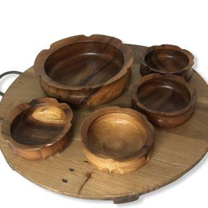 Vintage Teak Wood Salad Bowl Set of 5 Pieces